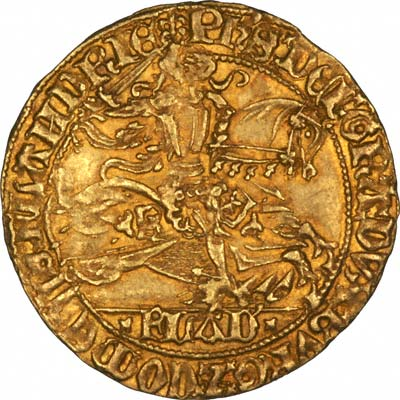 Obverse of Flanders Hammered Gold Rider