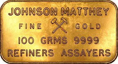 Reverse of Johnson Matthey 100 Gram Gold Bar