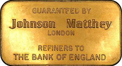 Johnson Matthey Refiners to the Bank of England on 100 Gram Gold Bar