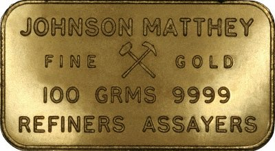 Johnson Matthey 100 Gram Refiners Assayers Gold Bar