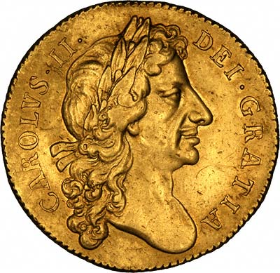 Charles II on Obverse of 1677 Gold Two Guineas