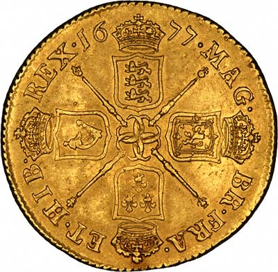 Cruciform Shields on Obverse of 1677 Gold Two Guineas