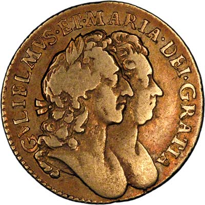 Second Head on Obverse of 1692 William and Mary Half Guinea