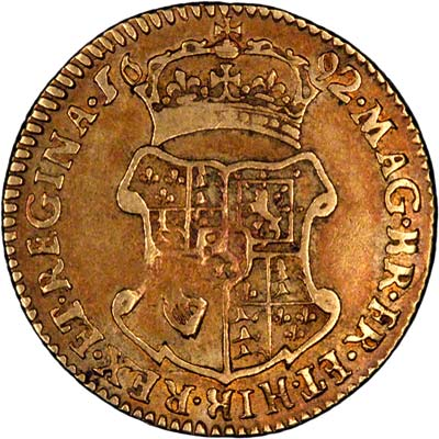 Second Shield on Reverse of 1692 William and Mary Half Guinea