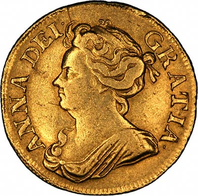 Queen Anne on Obverse of 1710 Guinea