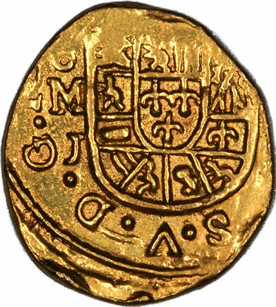 Obverse of 1714 Mexican Hammered 1 Escudo
