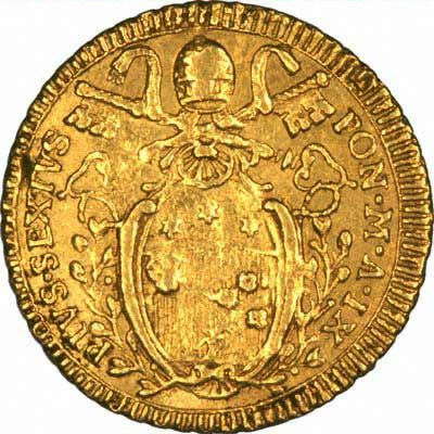 Reverse of 1783 Papal States Gold Zecchino