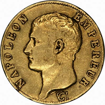 Bonaparte Premier Consul on Year 13 Gold 40 Francs