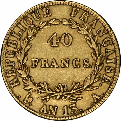 Reverse of Year 13 Gold 40 Francs