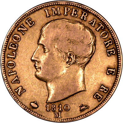 Obverse of 1810 Kingdom of Napoleon Gold 40 Lire Coin