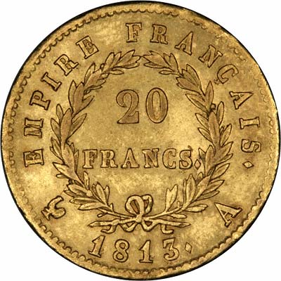 Reverse of 1813 20 Francs