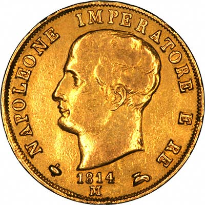 Obverse of 1814 Kingdom of Napoleon Gold 40 Lire Coin