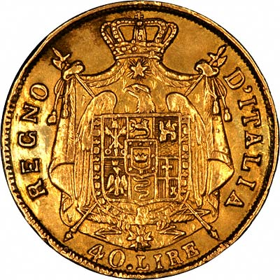 Reverse of 1814 Kingdom of Napoleon Gold 40 Lire Coin