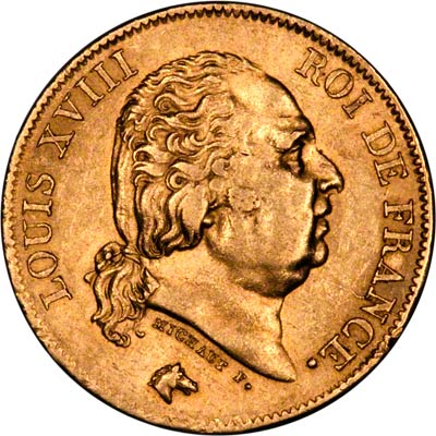 Louis XVIII on Obverse of 1818 French 40 Francs