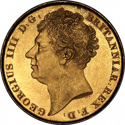 Obverse of 1823 Gold Two Pound Coin