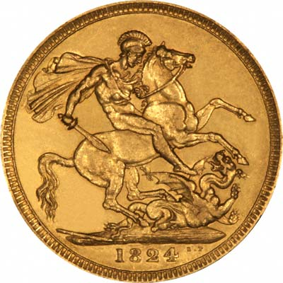 Saint George & Dragon on Reverse of 1824 George IV Gold Sovereign