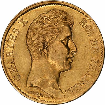 Charles X on Obverse of 1830 French 40 Francs