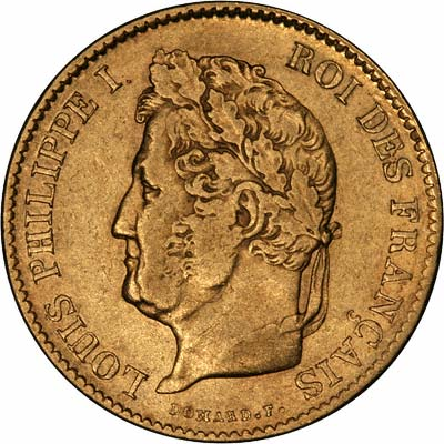 Louis Philippe on Obverse of 1834 French 40 Francs