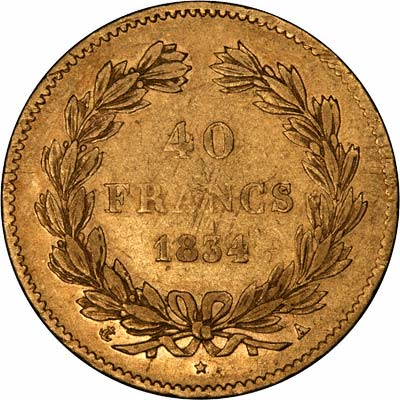 Reverse of 1834 French 40 Francs