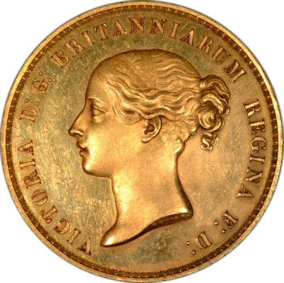 Obverse of 1839 Una & the Lion Five Pound