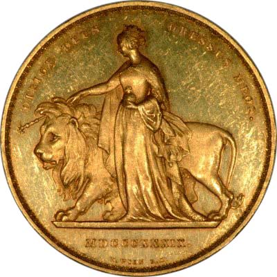 Reverse of 1839 Una & the Lion Five Pound