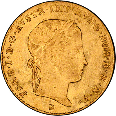 Obverse of 1848 Austrian One Ducat