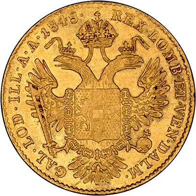 Reverse of 1848 Austrian One Ducat