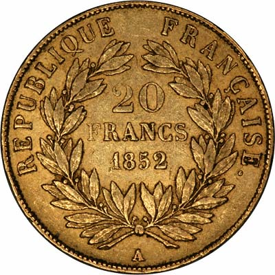 Reverse of French 20 Francs of 1852