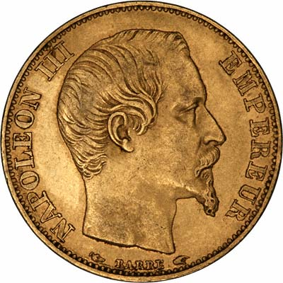 Obverse of 1854 French 20 Francs
