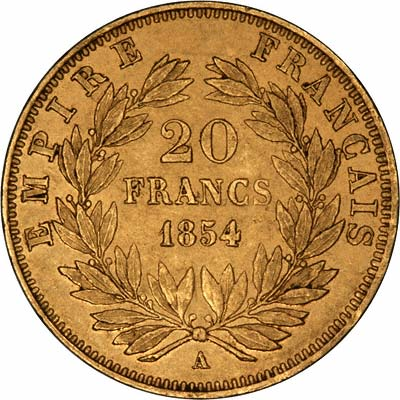 Reverse of 1854 French 20 Francs