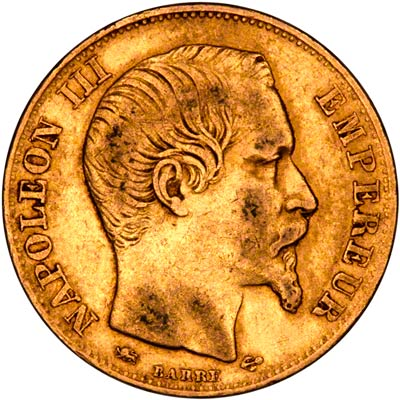 Obverse of 1855D French 20 Francs