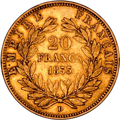 Reverse of 1855D French 20 Francs