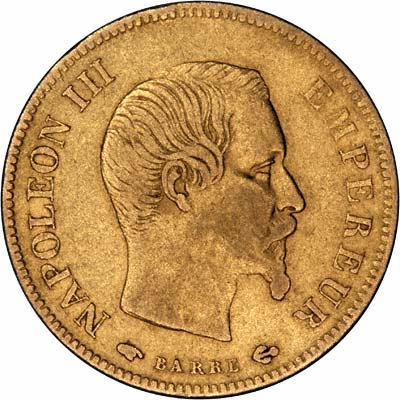 Obverse of 1856 French 10 Francs