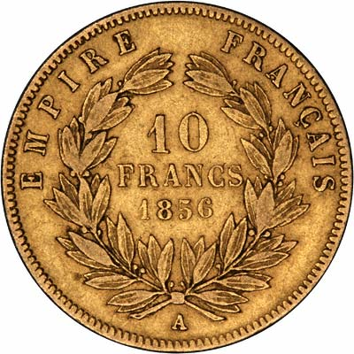Reverse of 1856 French 10 Francs