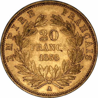 Reverse of 1856 French 20 Francs