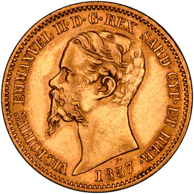 Obverse of 1857 Gold 20 Lire