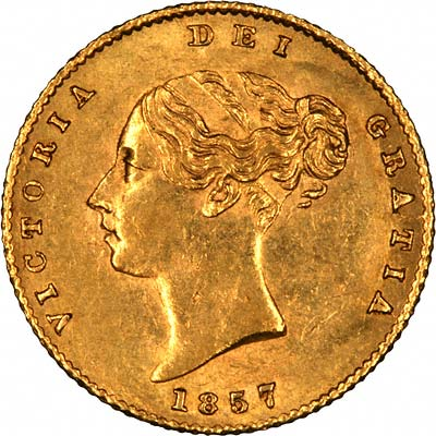 Obverse of Young Head Victoria Half Sovereign