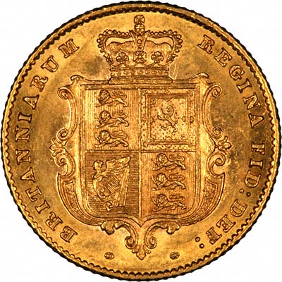 Reverse of 1857 Victoria Young Head Half Sovereign