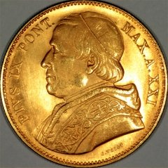 Pope Pius IX on Obverse of 1866 Papal States Gold 100 Lire Coin