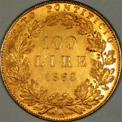 Reverse of 1866 Papal States Gold 100 Lire Coin
