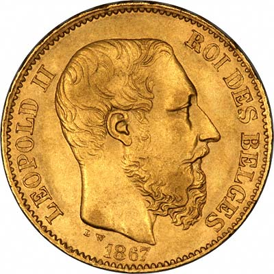 First Type Portrait of Leopold II on 20 Francs of 1867