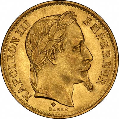 Napoleon III on a French 20 Francs of 1867