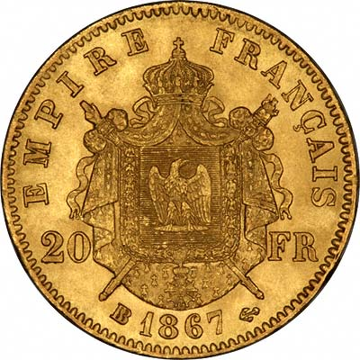 Shield Reverse on a French 20 Francs of 1867