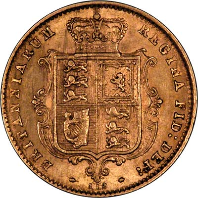 Obverse of 1872 Victoria Young Head Half Sovereign