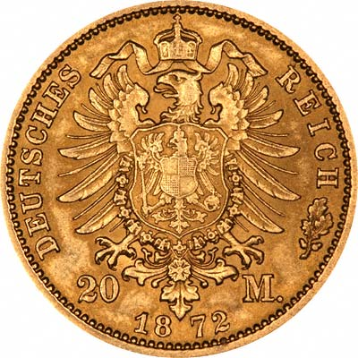 Reverse of 1872 German 20 Marks