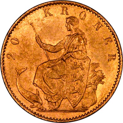 Obverse of Danish 20 Kroner of 1877