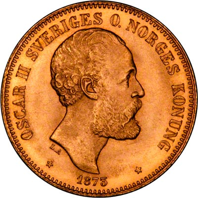 Obverse of 1873 Swedish 20 Kronor