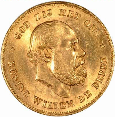 Willem III on Obverse of Netherlands 10 Guilder of 1875
