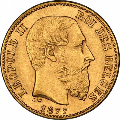 Our 1877 Belgian Gold 20 Francs of Leopold II Obverse Photograph