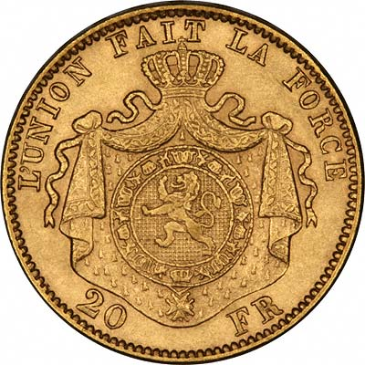 Reverse of Belgian Gold 20 Francs of Leopold II